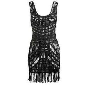 Arden B. Open Crochet Fringe Dress Tunic Sz M/L
